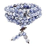 Jovivi 8mm Natural Sodalite Stone Healing Gemstone 108 Buddhist Prayer Beads Tibetan Mala Stretch Bracelet Necklace (Color: 8mm Beads)