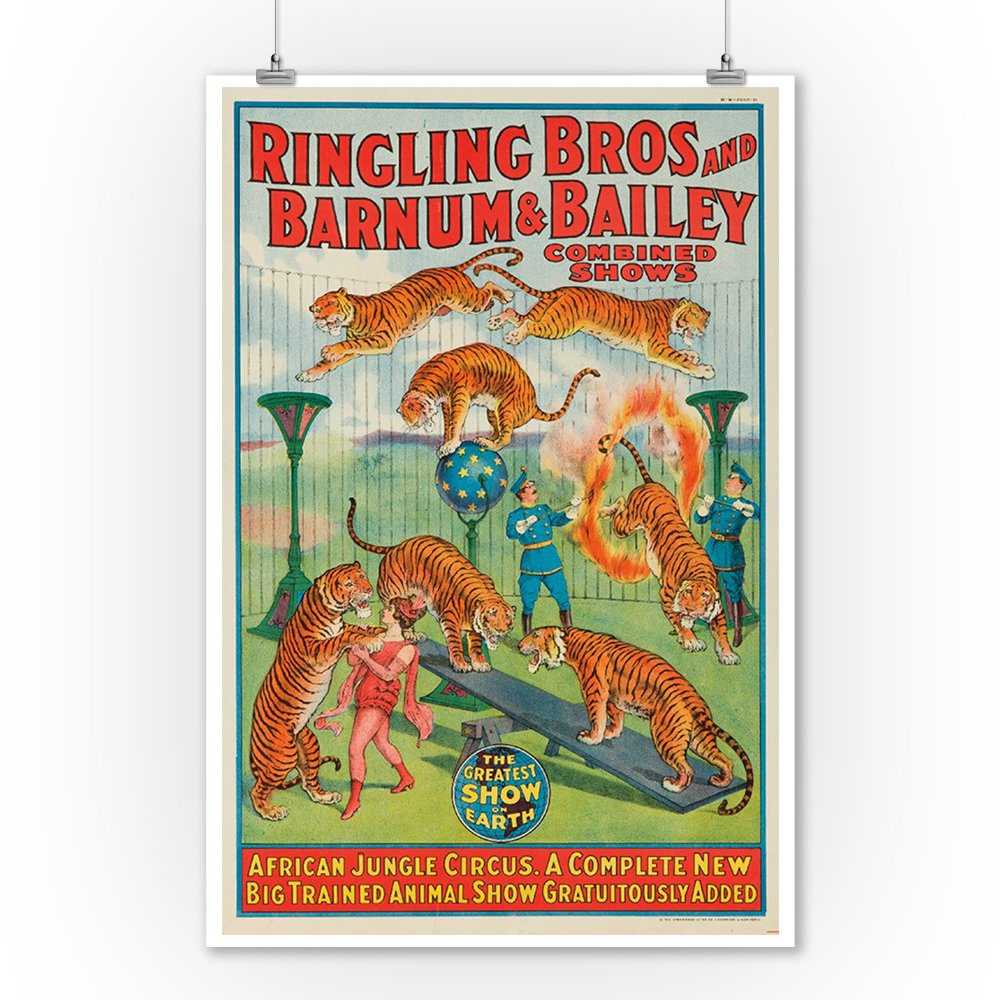 Ringling Bros and Barnum and Bailey - African Jungle Circus (window card) Vintage Poster USA c. 1922 (9x12 Collectible Art Print, Wall Decor Travel Poster) 1