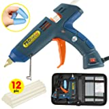 Hot Melt Glue Gun Kit 100 Watt with Carry Bag and 12 pcs Glue Sticks, for DIY, Arts & Crafts Projects, Sealing and Quick Repairs, Light and Heavy Duty in Home and Office by PROkleber (Color: Green/Blue)
