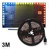 Kreema 3m RGB 5050 LED Strip Light Waterproof Flexible Background Lighting Kit with Mini 3 Key USB Cable Controller for TV/PC/Lapto