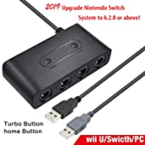 Wii U Gamecube Controller Adapter, Gamecube NGC Controller Adapter for Wii U,Nintendo Switch and PC USB.Easy to Plug and No Driver Need.4 Ports Turbo Button (Updated Version) (Color: Black)