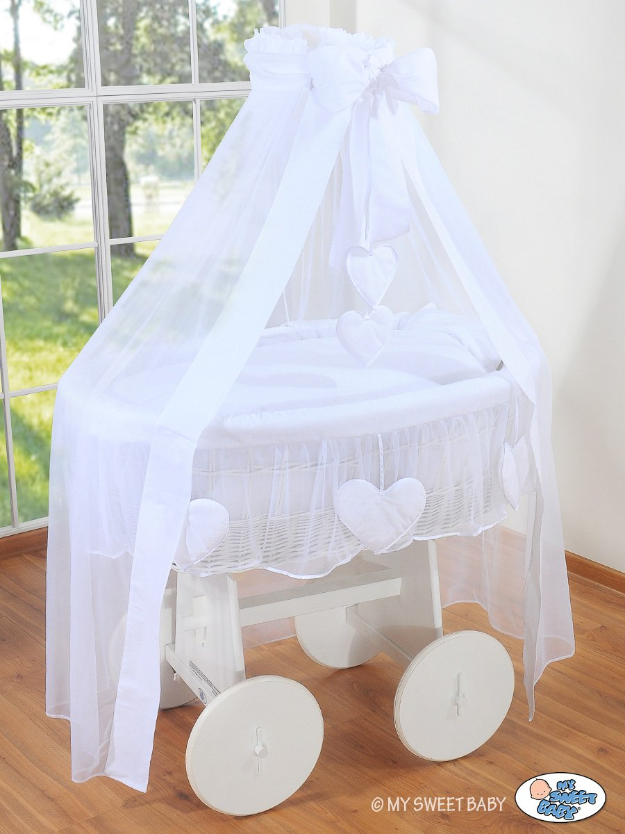 BEAUTIFUL NEW BEDDING SET ONLY FOR BABY WICKER CRIB BASSINET IN WHITE COLOUR WITH DRAPE       BabyCustomer review and more information
