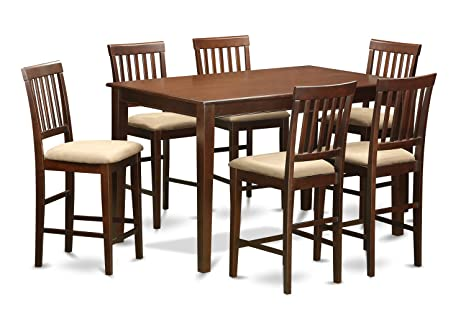 East West Furniture DUVN7H-MAH-C 7-Piece Counter Height Dining Table Set, Mahogany Finish