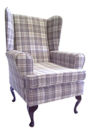 Queen Anne Style Chair In A Latte Tartan Fabric ...wing back fireside high back chair. Ideal bedroom or living room furniture