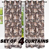 "Story@Home Nature Designer Eyelet 4 Piece Polyster Window Curtain Set - 46"" x 60"" (5ft),"