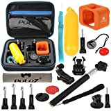 PULUZ 18 in 1 Accessories Combo Bundle Kit with EVA Case for GoPro Session HERO 5/4/3+/3/2/1 - (Monopod + Bobber Hand Grip + Buckle + J-Hook Mount + Floating Cover + Surfing Board Mount + Screws)