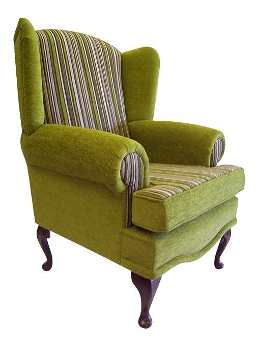 Cottage/Wing Back/ Queen Anne Chair in Fresco Plain Citrus/Argent Citrus StripeChenille Fabric