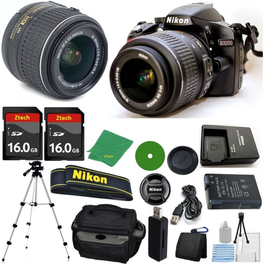 Nikon D3200 24.2 MP CMOS Digital SLR, NIKKOR 18-55mm f/3.5-5.6 Auto Focus-S DX VR, 2pcs 16GB ZeeTech Memory, Camera Case