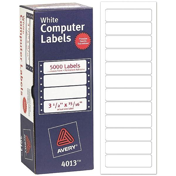 Avery 4013 Dot Matrix Mailing Labels, 1 Across, 15/16 x 3 1/2, White (Box of 5000) (Color: White, Tamaño: 3 1/2 x 15/16)
