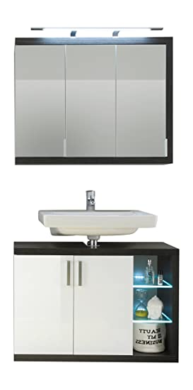 Furnline Sunrise High Gloss Bathroom Furniture Set, Smoky Silver