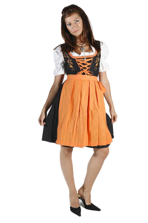 3tlg. besticktes Dirndl Set Schwarz Orange mit Bluse und Schuerze bestellen