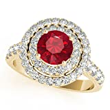 1.85 Ct. Ttw Diamond And Created Ruby Ring In 14k Yellow Gold