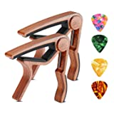 Guitar Capo 2 Pack SKL Ukulele Capo Wood Guitar Clamp Trigger Capo with 4 Free Guitar Picks Accessories for Acoustic and Electric Guitars, Ukulele Concert, Soprano, Baritone, Banjo, Bass (Color: Rosewood Color-2 Pack)