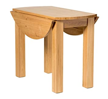 Waverly Oak Drop Leaf Dining Table in Light Oak Finish | Solid Wooden Round Folding Dinner Table