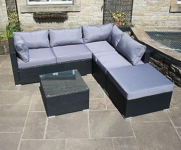 Rattan Outdoor Garden Furniture Corner Sofa Set in Black