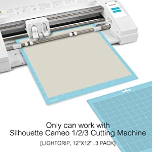 12x12 Lightgrip Cutting Mat for Silhouette Cameo 3/2/1(3 Pack), Monicut Cut Mats with Durable Adhesive Non-Slip PVC Perfect for Crafts, Quilting, Scrapbooking, Sewing and All Arts (Color: bule for Cameo 12*12 3pack, Tamaño: LightGrip)