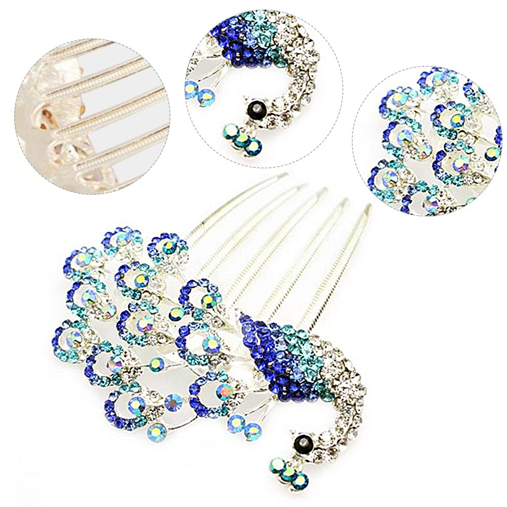 Colors Rhinestone Flower Peacock Tail Antique Tuck Hair Claw Hair Comb Hairpin 1