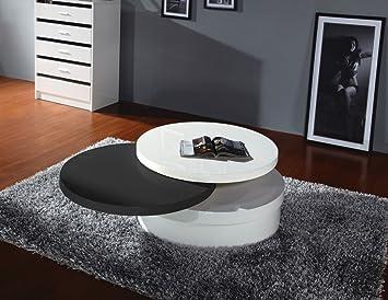 Couchtisch Dakoro 03, Farbe: Weiß Hochglanz / Schwarz Hochglanz - Abmessungen: 38 x 80 x 80 cm (H x B x T)