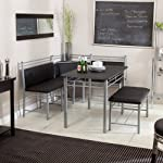 Breakfast Nook - Black Family Diner 3 Piece Corner Dining Set - Enjoy the Best Kitchen Table Furniture Loaded with a Luxury Bench Seat and Cushions - Nook Seating with Backless Bench Chair Sets - Best Guarantee