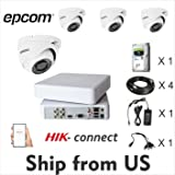 4CH HD Kit 1080p DVR,4 Cam Epcom Dome 2MP, 1TB HDD, 3A Power Supply, Cables