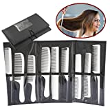 ZJchao Professional Styling Comb Set, 9Pcs Salon Hairdressing Kits, Metal Pintail Teaser/Sharp Tail/Wide Tooth/Cutting Grip Comb(White) (Color: White)