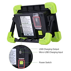 LE Portable LED Work Light, 20W, Rechargeable Outdoor Flood Light, 6000mAh Power Bank for Hiking, Working, Car Repairing, Workshop and More (Color: Black + Green)