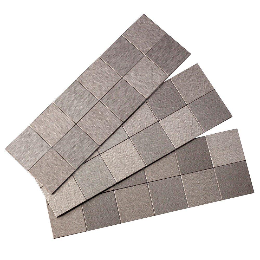Peel Stick Backsplash Tiles: Aspect A94-50 Peel And Stick Backsplash Square Metal Tile