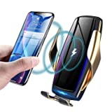 KMI CHOU Wireless Car Charger,Automatic Clamping IR Intelligent Wireless Car Charger - Car Charger Holder 10W Fast Charging for iPhone Xs Max/XR/X/8/8Plus Samsung S10/S9/S8/Note 8(Negative Ion Film) (Color: E5 Gold)
