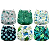 Mama Koala One Size Baby Washable Reusable Pocket Cloth Diapers, 6 Pack with 6 One Size Microfiber Inserts (Going Green) (Color: Going Green, Tamaño: One Size)