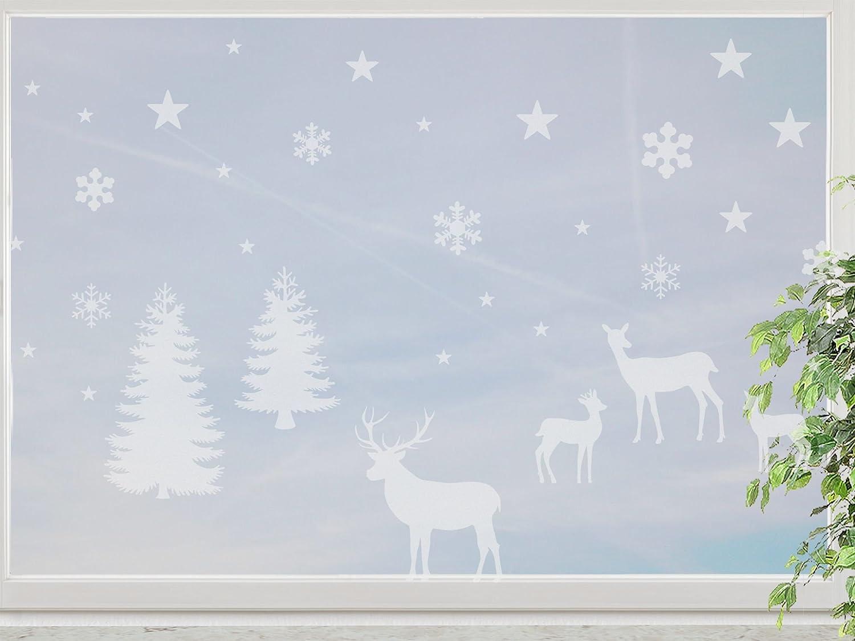 wandfabrik – niedliche Hirschfamilie im Winterwald mit Schneeflocken – 2 Din A4 Bögen – frosty – 798 – (Xt) günstig bestellen