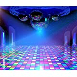 Gardenia 10x8ft Disco Lights Background with Mirror Balls and Shining Stars 90s Hip Hop Party Colorful Photo Photography Background Studio Props 4167 (Color: disco stage, Tamaño: 10x8 ft)