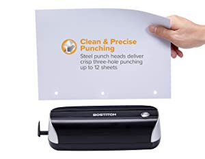 Bostitch Electric 3-Hole Punch, AC or Battery, Black (EHP3BLK) (Color: Black/Silver, Tamaño: Electric 3 Hole)