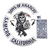 Sons of Patch Anarchy Biker Motorcycle Back Patches Iron On Large Size Embroidered (Color: Navy Blue, Tamaño: 36cm-XL)