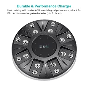 EBL 9V Lithium-ion Battery Charger for Li-ion 9V Rechargeable Batteries, 8 Bay Smart Charger (Color: Universal Charger)