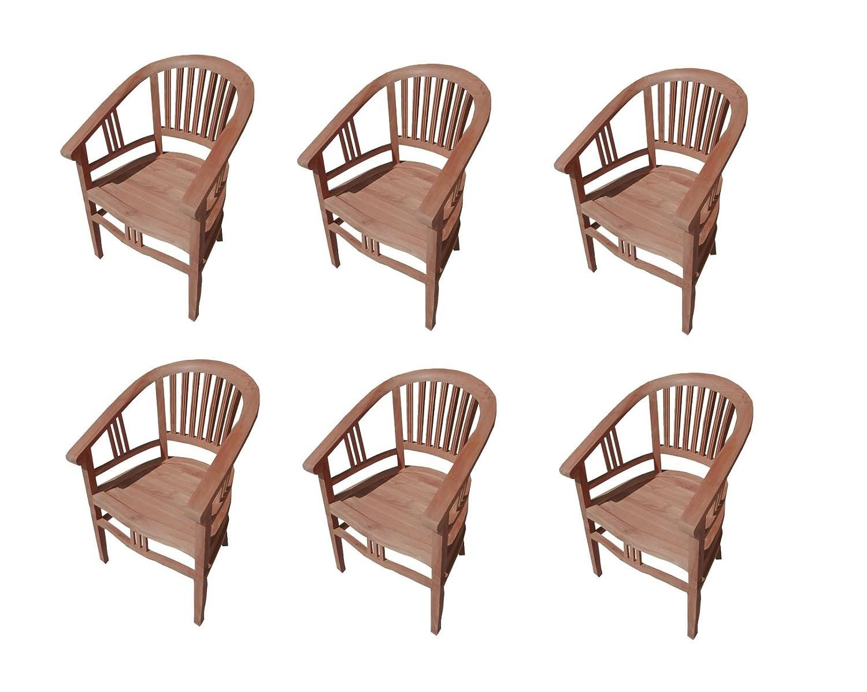 SAM® 6er Spar-Set Gartenstuhl Sessel aus Teak Holz Moreno günstig bestellen