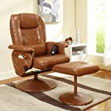 InRoom Designs Massage Reclining Swivel Chair with Ottoman -