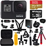 GoPro HERO7 Black w/Free Extra GoPro Battery, Action Camera Case, Flexible Tripod, MicroSD Memory Cards and Accessory Bundle