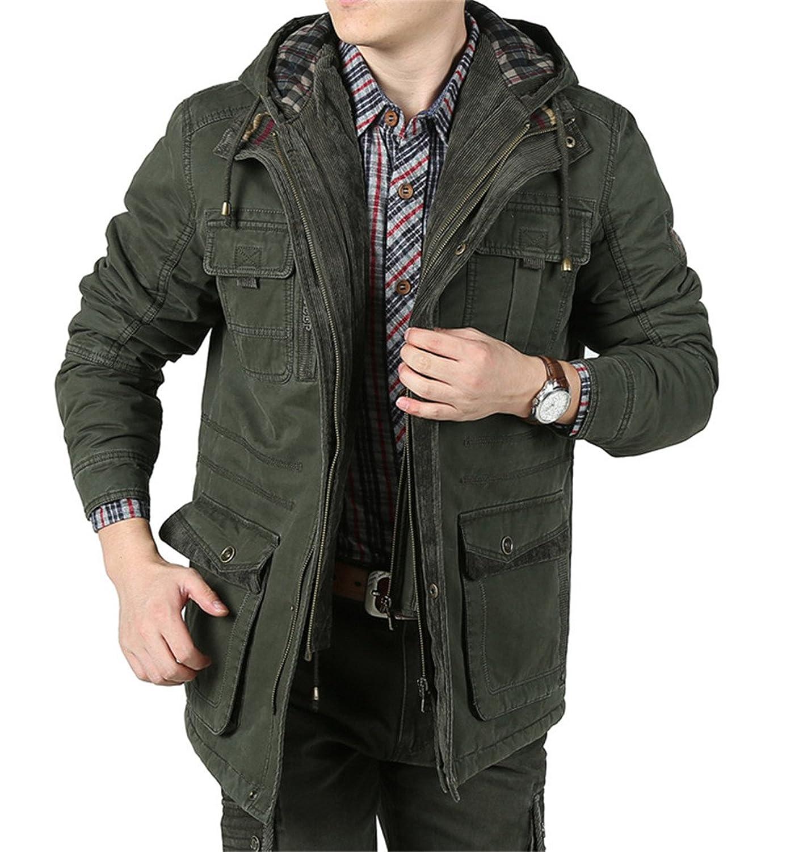 BININBOX® Herren Verdickung Wintermantel Baumwoll-Bekleidung mit abnehmbarer Kapuze Wintermantel günstig