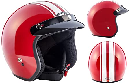 ARROW AV-47 red - rouge Jet moto casque Vespa pilot scooter Taille: XS S M L XL XXL