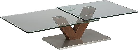 Tavolino design vetro temperato vassoio girevole piede Noce