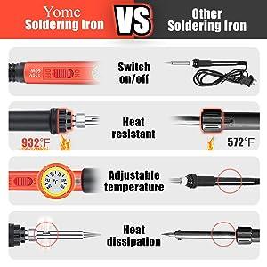 Soldering Iron Kit Electronics, Yome 19-in-1 60w Adjustable Temperature Soldering Iron with ON/OFF Switch, Digital Multimeter, 5pcs Soldering Iron Tips, Desoldering Pump, screwdriver, Tweezers, Stand (Color: Orange)