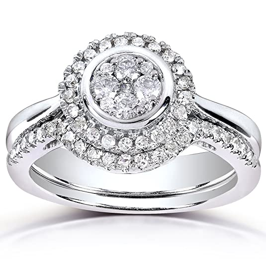 Round-cut Diamond Bridal Ring Set 3/8 Carat (ctw) in 10k White Gold (2 Piece Set)