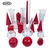 MILIVIXAY 11pcs Candle Molds Set-Durable PC Candle Making Kit-DIY Candle Making Supplies Pyramid & Cylinder & Ball Sphere & Pillar & Apple & Square & Egg & Cones & Taper Mold (Tamaño: 11pcs Candle Molds Set)