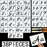 DaveandAthena 36 Pieces Letter Stencils for Painting on Wood Alphabet Stencils Reusable Plastic Art Craft Stencils with Numbers and Signs (Style 1) (Color: Style 1, Tamaño: 5.9 x 8.3 inch)