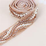 Rose Gold Beaded Crystal Rhinestone Applique 1 Yard of Shinning Dress with Pearls-Bridal Belts-Wedding Sash-1Piece(1.2