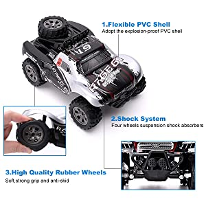 Vinciph RC Car 2.4Ghz All Terrain High Speed Racing Car 1:18 Scale Off-Road Vehicle Buggy Toy Car,Remote Control Car for Kids Birthday (2pce Battery) (Color: Black)