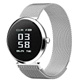DSMART H2 Smart Fitness Tracker Watch with Step Counter Calories & High-presice Heart Rate/Blood Pressure/Sleep Monitor, Bluetooth Smart Bracelet Wristband for Mens and Womens (Silver) (Color: silver)