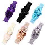 Ever Fairy Chiffon Lace Flower Baby Girls Turban Headband Head Wrap With Pearl (Color: 6 Color Package, Tamaño: One Size)