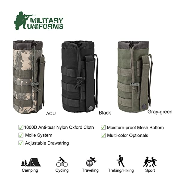 Tactical Hiking Camping Molle Water Bottle Holder Belt Carrier Pouch Bags Nylon