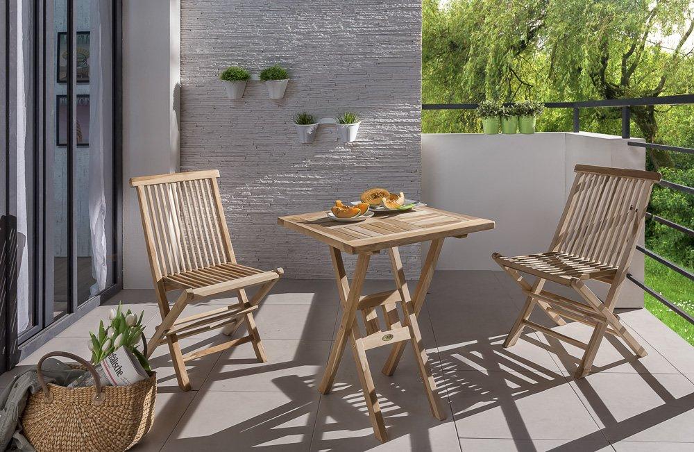 SAM® Teak-Holz Balkongruppe, Gartengruppe, Gartenmöbel 3tlg. Sunset, bestehend aus 1 x Tisch + 2 x Klappstuhl, zusammenklappbar, leicht zu verstauen kaufen